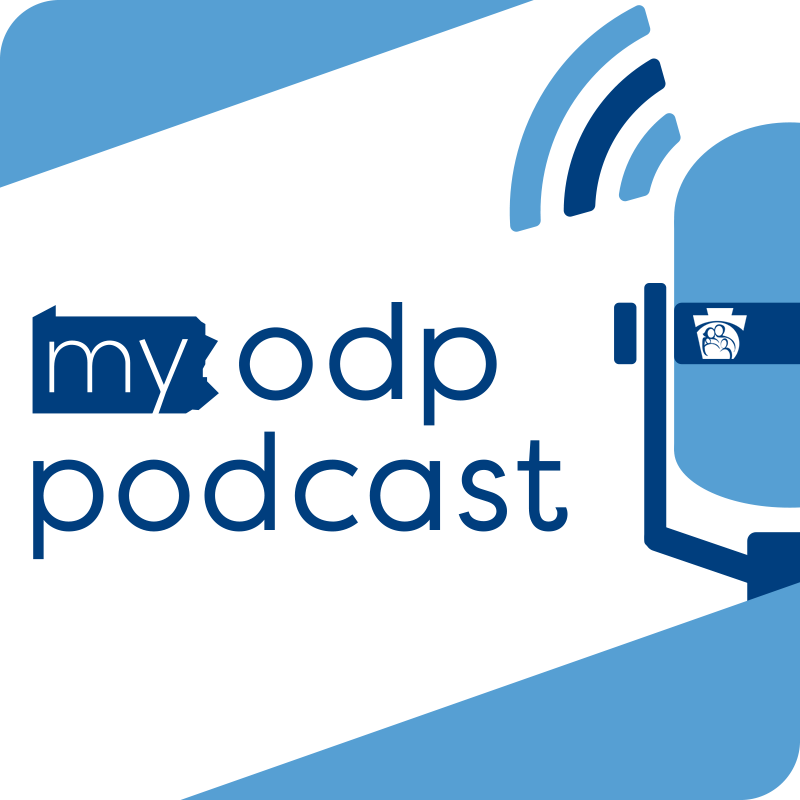 The MyODP Podcast logo containing that text in lowercase font Next to a microphone in a square blue border