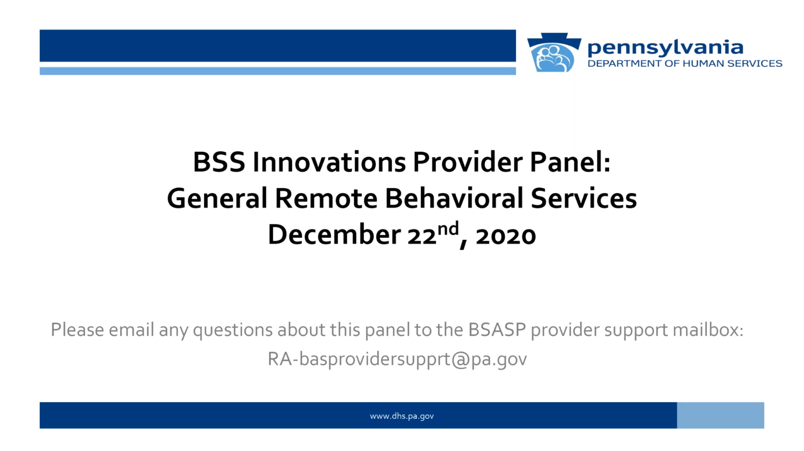 Click for BSS Innovations Provider Panel: General Remote Behavioral Services