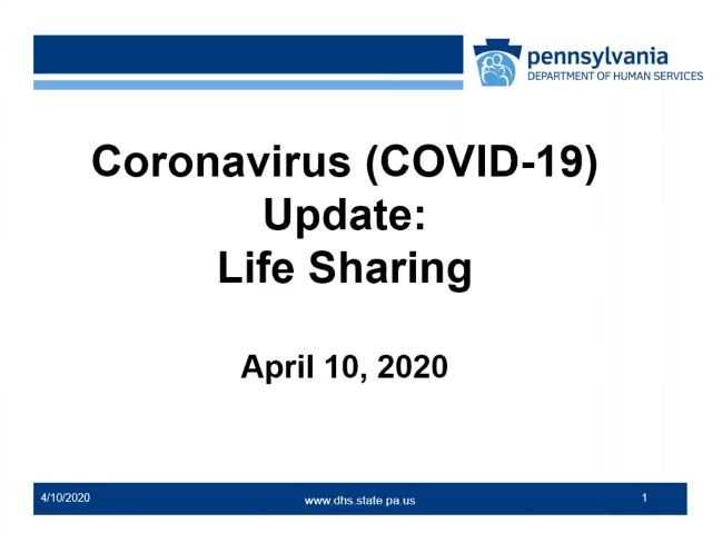 Click for Coronavirus (COVID-19) Update: Life Sharing recording