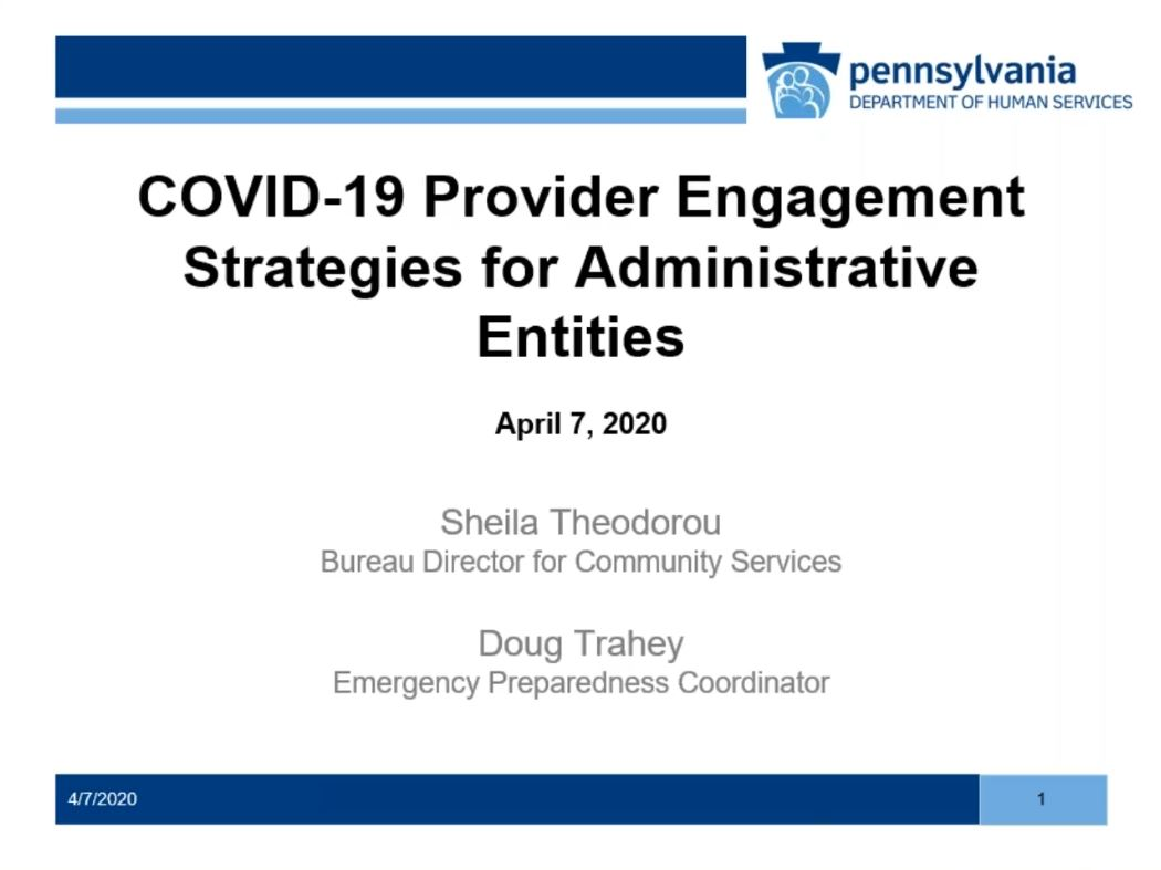 Click for COVID-19 Provider Engagement Strategies for Administrative Entities recording